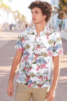 Next Tropical Print Short Sleeve Shirt