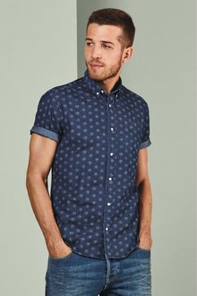 Next Short Sleeve Denim Print Shirt