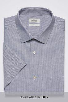 Next Slim Fit Short Sleeve Micro Check Shirt