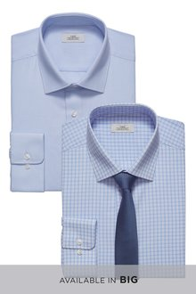 Next Plain And Check Shirts Two Pack With Tie -Regular Fit Short Sleeve