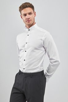 Next Cotton Wing Collar Shirt -Regular Fit Single Cuff