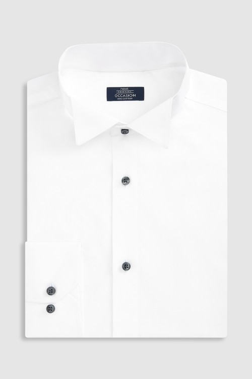 Next Cotton Wing Collar Shirt -Slim Fit Single Cuff