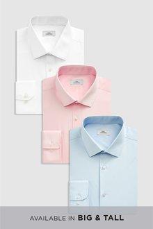 Next Shirts Three Pack -Slim Fit Single Cuff - 232917