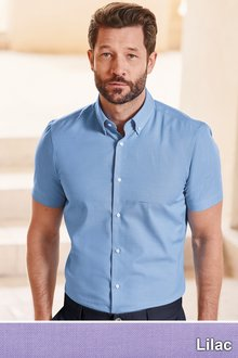 Next Easy Care Oxford Shirt -Slim Fit Short Sleeve