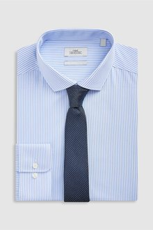 Next Stripe Slim Fit Shirt And Textured Tie Set