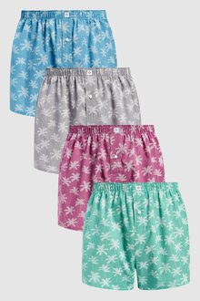 Next Palm Tree Woven Boxers Pure Cotton Four Pack