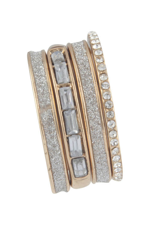 Amber Rose Mix Crystal Ring Stack