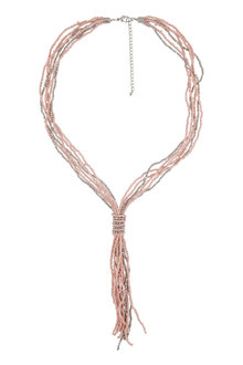 Amber Rose Tie Seed Bead Rope Necklace