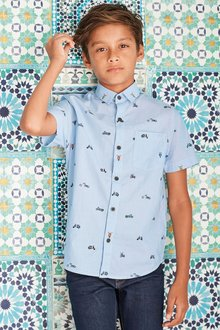 Next Short Sleeve Motorbike Print Ticking Stripe Shirt (3-16yrs)