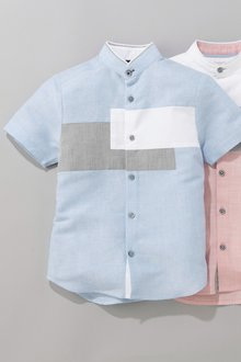 Next Short Sleeve Colourblock Fin Collar Shirt (3-16yrs)