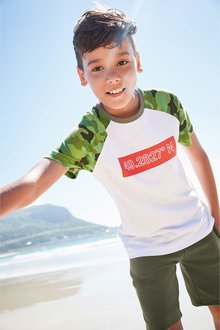 Next Camo Raglan Slogan T-Shirt (3-16yrs)