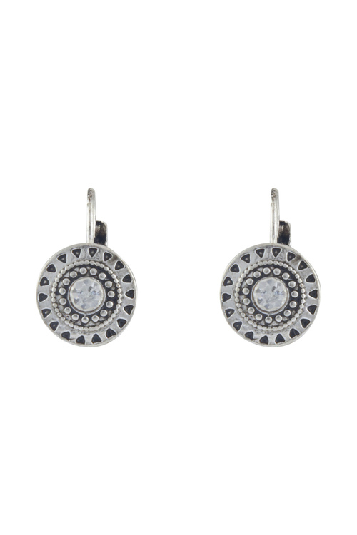 Amber Rose Stamped Circle Earrings