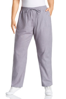 Plus Size - Sara Button Long Linen Pant
