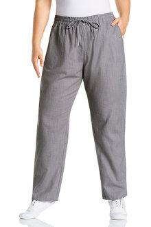 Plus Size - Sara Button Long Linen Pant - 233497