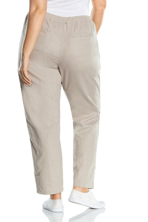 Plus Size - Sara Button Long Linen Pant