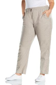 Sara Button Long Linen Pant - 233497