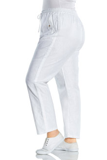 Plus Size - Sara Button Long Linen Pant - 233497