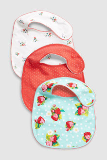 Next Strawberry And Floral Print Regular Bibs Three Pack