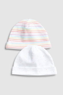 Next Spot And Stripe Beanie Hats Two Pack (0-18mths)