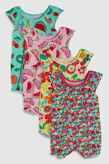 Next Floral And Fruit Print Rompers Four Pack (0mths-2yrs)