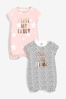 Next Mummy And Daddy Slogan Rompers Two Pack (0mths-2yrs)