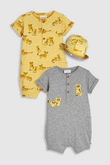 Next Animal Rompers Two Pack With Reversible Hat (0mths-2yrs)
