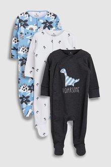 Next Dinosaur Character Sleepsuits Three Pack (0mths-2yrs)