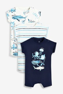 Next Under The Sea Character Rompers Three Pack (0mths-2yrs)