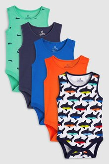 Next Shark Print Vests Five Pack (0mths-2yrs)