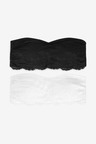 Next Jamie Cotton Blend And Lace Bandeau Bras Two Pack
