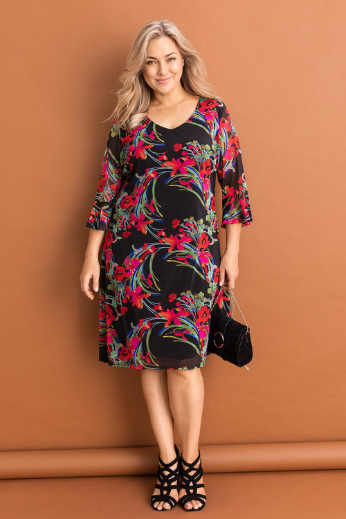 Plus Size - Sara Floral Mesh Dress