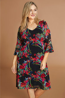 Plus Size - Sara Floral Mesh Dress - 233727