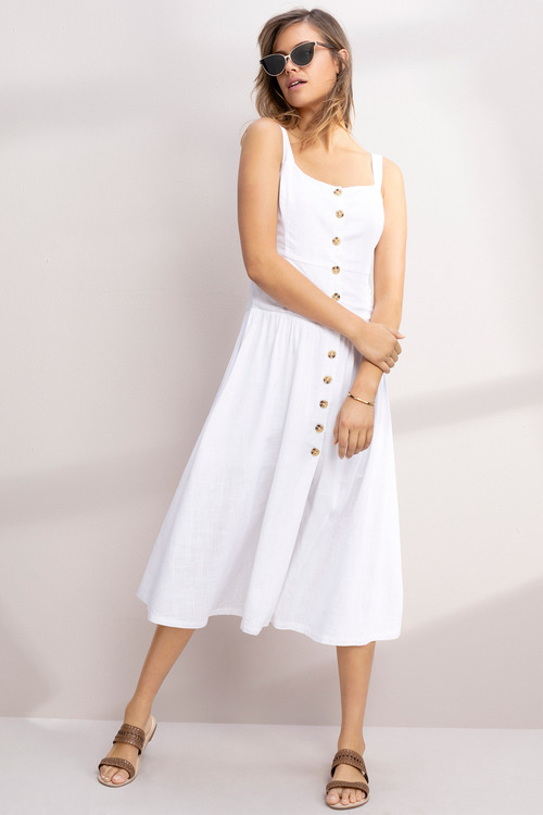 Emerge Linen Blend Button Midi Dress