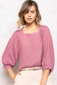 Emerge Square Neck Blouson Sleeve Top