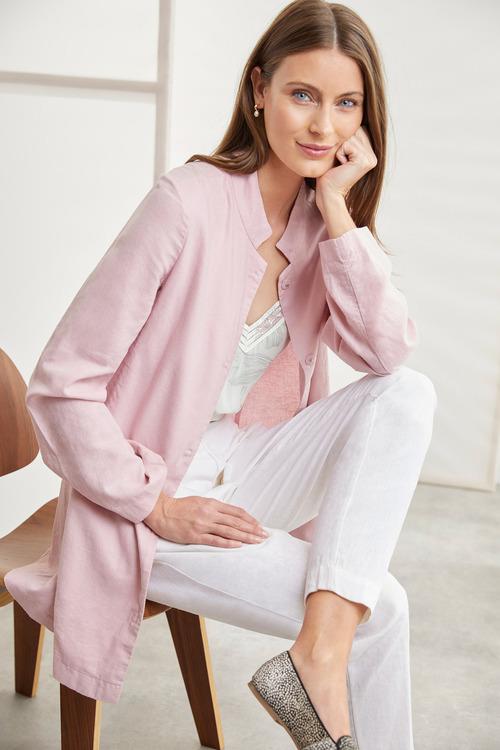 Grace Hill Linen Blend Longline Jacket