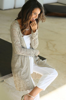 Euro Edit Longline Pointelle Cardigan