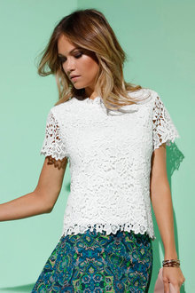 Euro Edit Lace Overlay Top