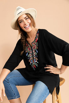 Plus Size - Sara Embroidered V Neck Top