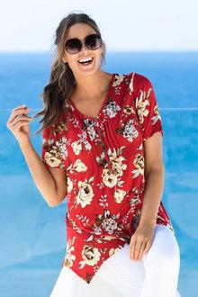 Plus Size - Sara Pleat Button Print Top
