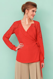 Heine Lace Detail Wrap Top
