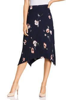 Grace Hill Asymmetric Hem Pleated Skirt