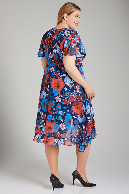 Plus Size - Sara Crossover Ruffle Dress