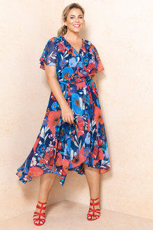 Plus Size - Sara Crossover Ruffle Dress - 233905