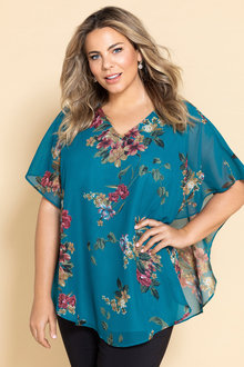 Plus Size - Sara V Neck Overlay Top