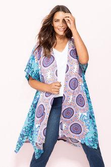 Plus Size - Sara Border Print Kimono