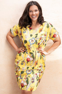 Plus Size - Sara V Neck Cocoon Dress