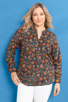 Plus Size - Sara Cotton Voile Shirt - 233924