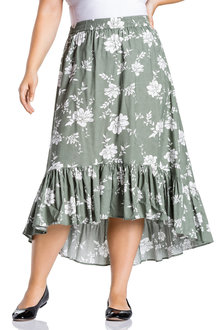 Plus Size - Sara Frill Hem skirt