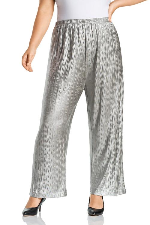 Plus Size - Sara Fine Pleat Stretch Wide Leg Pants