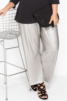 Plus Size - Sara Fine Pleat Stretch Wide Leg Pants